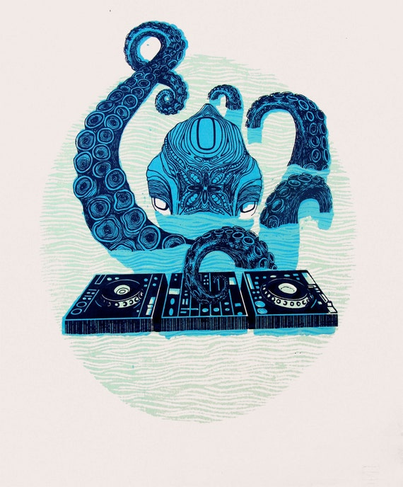 "Glow in the Dark Octopus DJ  Screenprint 12""x16"""