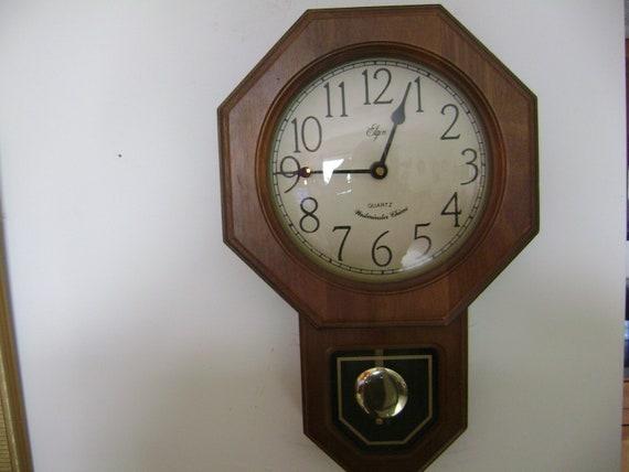 Items Similar To Vintage Elgin Regulator Wall Clock With