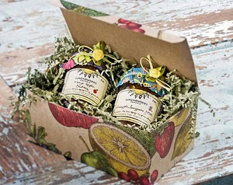 Jam Gift  Box Selection of Two 8 ounce Jars of  your choice of Seasonal Jams