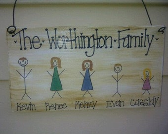 5 Family Member Stick Figure Sign, Personalized Last Name Plaque / Stick People