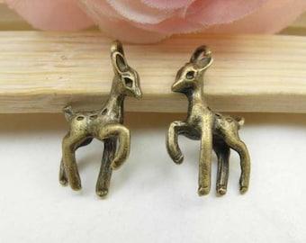 20pcs 4x14x22mm Antique Brass Sika Deer Charm Pendant