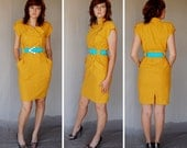 Mustard Yellow 80's Dress with Military style front size 8-10