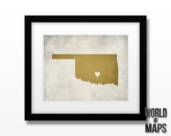 Oklahoma Map Print - Home Town Love - Personalized Art Print