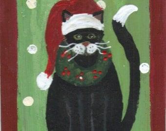 ACEO- Original Art Painting-Tuxedo Cat in Santa Hat