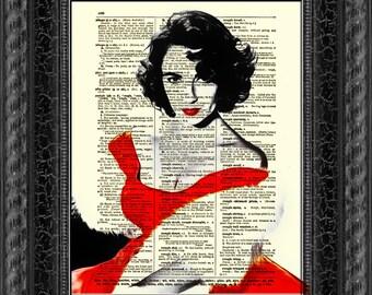 Elizabeth Taylor Print, Wall Decor, Art Print, Antique Dictionary Page Art, Elizabeth Taylor Red Dress, 031