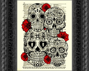 Sugar Skull Art Collage With Red Flowers Art On An 1897 Dictionary Page, Wall Decor, Day of the Dead, Halloween Decor, Halloween Party Decor