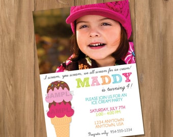 Ice Cream Birthday Party Invitation with Photo (Digital - DIY)