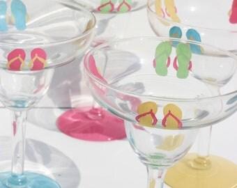Flip Flop Margarita Glasses / Set of 4