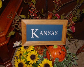 FREE SHIPPING Man cave KANSAS sign custom lettered solid cedar wood framed oak finish country rustic bar display