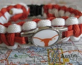 Handmade Texas Longhorns Middle Weight Paracord Bracelet