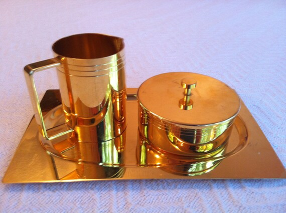 24k Gold Plated Sugar and Creamer set with Platter