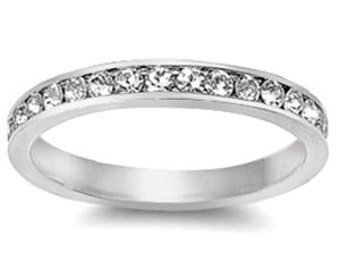Personalized Sterling Silver eternity  Ring clear CZ - Free Engraving