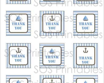 Nautical Thank you Tags - Printable PDF - Instant Download - Immediate Download
