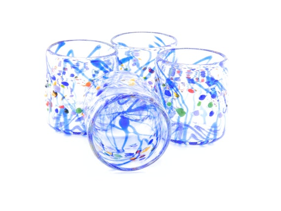 Hand Blown Art Glass Blue Striped Glass Tumblers made by James Moody