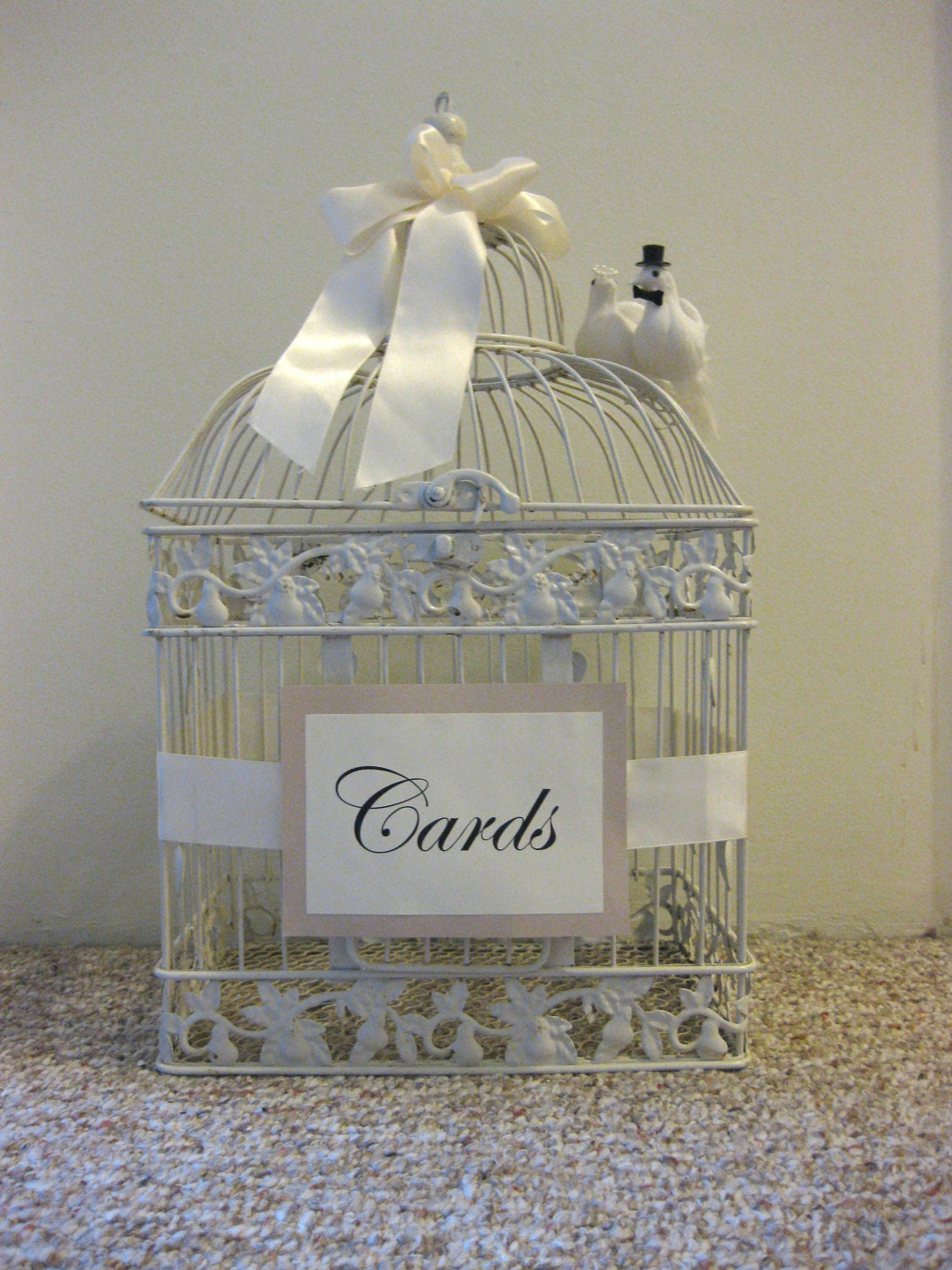 Vintage Bird Cage Wedding Decor Card