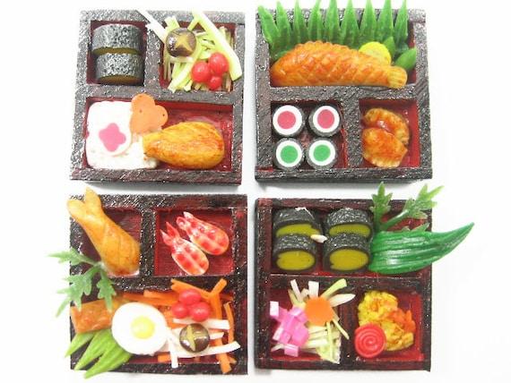 DollHouse Miniature Japanese Food 4 Sushi Bento Lunch Box Deco Supply Size S - 6772