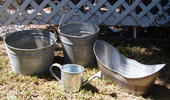 Vintage Galvanized Collections,  Bucket, Small Tub, Watering Can, Planter, Instant Collection