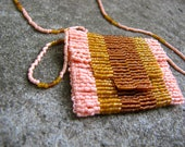 Beaded Amulet Bag, Peyote Stitch, Peach, Tan, & Brown, Gift Under 30