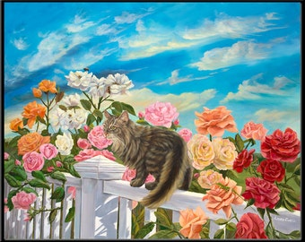 "Daisy in the Rose Garden 8"" x 6"" Domestic Cat Print"