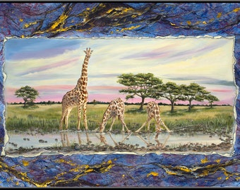 "Giraffes 9"" x 4.5"" Print"