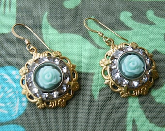 The Queen's Bling - Ornate brass, rhinestones and resin flowers with gold filled earwires