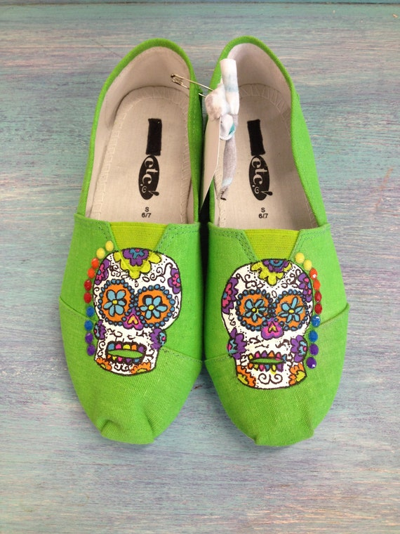 Funky & Colorful Sugar Skull Hand Painted by GaudyGlamBoutique