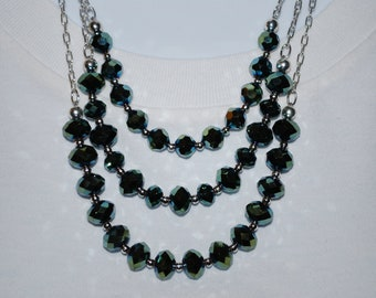 Womens Multiple Strand Green Gold Crystal Necklace