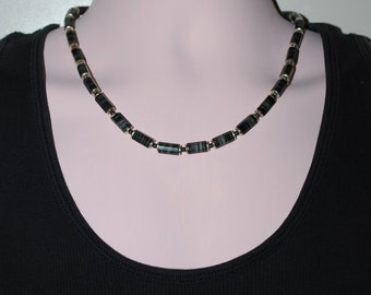 Mens Silver Plated and Zebra Jasper Necklace