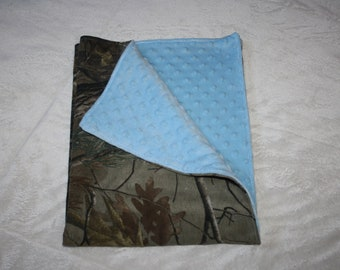 Camo and light blue baby blanket- light blue minky dot and realtree camo camouflage baby boy blankey