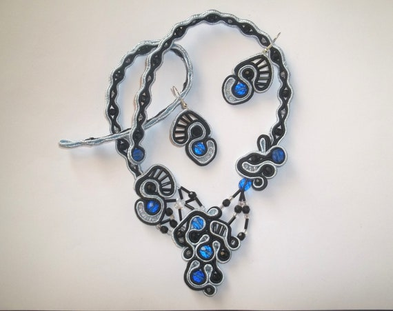 OOAK Soutache Jewelry Necklace Set Fantazy Night Sky Black Blue