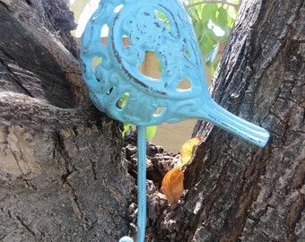 Aqua Blue Bird Wall Hook /Or Pick Color / Wall Hook /Metal wall hook /Bathroom hook / Fixture/Child Room/Nursery/Shabby Chic Hook/Bird Decor