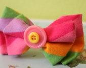 Flannel Rainbow Hair Bow - Clip or Headband - Newborn to Adult - Ready To Ship - Handmade