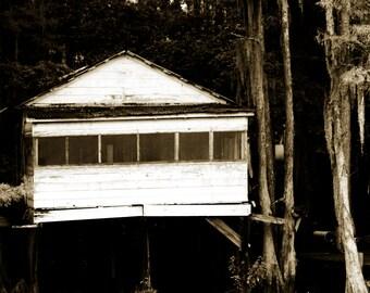 Fine Art Photography-True Blood-Caddo Lake- Fishing Shack- Lousiana Swamp-Black and White-Home Decor -Print