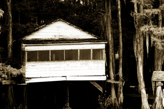 Fine Art Photography-True Blood-Caddo Lake- Fishing Shack- Lousiana Swamp-Black and White-Home Decor -Print