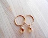 Double Hoop Gold & Swarovski Crystal Earrings in Golden Shadow