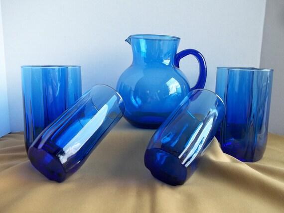 Anchor Hocking Cobalt Blue Pitcher and 6 Glasses