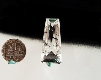 Tourmaline in Quartz Faceted Gemstone
