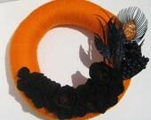 Halloween Wreath Orange Yarn
