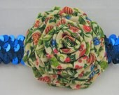 Christmas Headband Blue Stretch Sequin with Holly Fabric