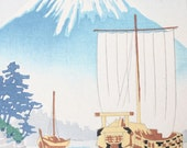 Vintage Japanese Woodblock Print -- Mount Fuji -- Asian Art -- Boats on the Water