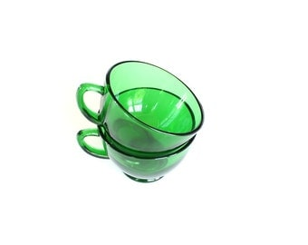 Anchor Hocking Glass Cups - Green Cups - Vintage Glass Coffee Cups - Christmas Cups - Green Glass Cups - Vintage Cups - Punch Cups