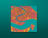 """Abstract fine print map of Venice on canvas 32"""" x 32"""" (80 x 80 cm) FREE SHIPPING ANYWHERE"""