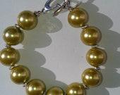 Large Olive Pearls and Stirling silver  Bracelet