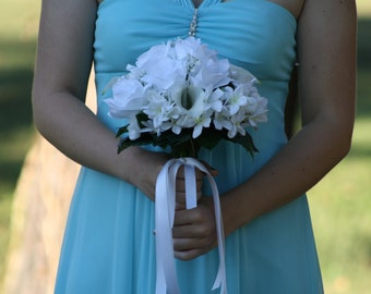 White Wedding Bouquet, White Bridal Bouquet, White Rose Bouquet, White Wedding, Stephanotis Bouquet, White Calla Lily Rose Bouquet