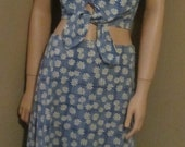 vtg daisy maxi skirt and bare-midriff tie top 1990's grunge does hippie boho flower power medium SUMMER SALE!