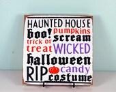 Primitive Halloween Sign-  Halloween Wood Block Decor Set - Decorative Paper Set