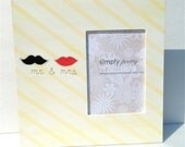 Personalized Mustache & Lips Wedding Photo Frame, Mr. and Mrs. Modern, Fun, Custom Wedding Gift