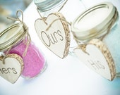 His, Hers, Ours - sand ceremony handmade hearts to go around mason jars