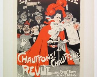 J.A. Grun, Original Maitres de L'Affiche Poster, French 1899, Plate No.159. Ad for the Nightclub LA PEPINIERE in Paris.