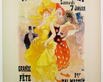 Jules Cheret, Original Maitres de L'Affiche Poster, French 1899, Plate No.149, Ad for the 1st. Mascarade Ball at the Paris Opera.